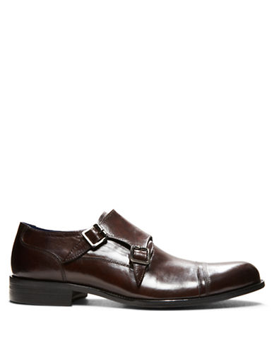 STEVE MADDENModish Leather Monk Strap Loafers