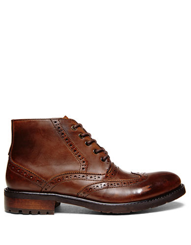 STEVE MADDENLeather Brogue Ankle Boots