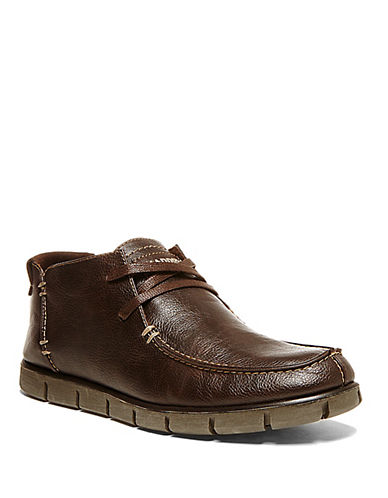 STEVE MADDEN Wiley Leather Moc-Toe Chukka Boots