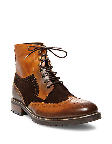 STEVE MADDEN Occupie Leather Lace-Up Boots