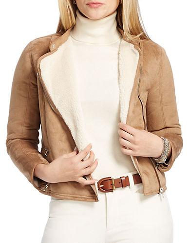 Lauren Ralph Lauren Plus Sherpa-Lined Suede Moto Jacket
