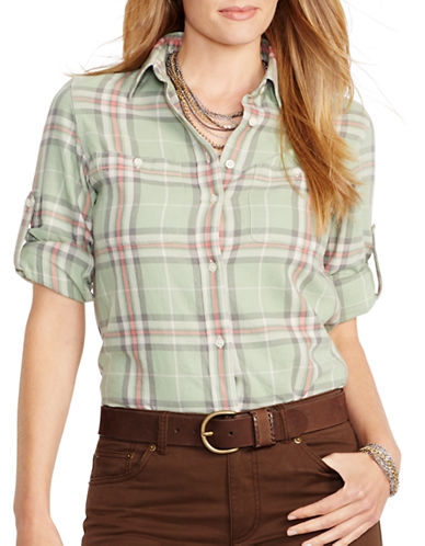 LAUREN RALPH LAUREN Plus Plaid Roll-Cuff Shirt