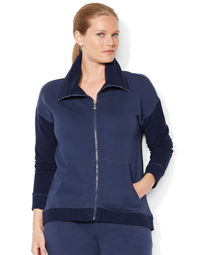 Lauren Ralph Lauren Plus Color-Blocked French Terry Zip-Up