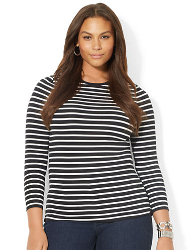 LAUREN RALPH LAUREN Plus Stripe Stretch Cotton Tee