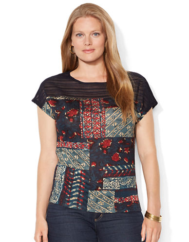 LAUREN RALPH LAUREN Plus Patchwork Paisley Boatneck Top