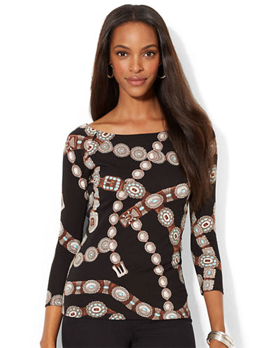 LAUREN RALPH LAUREN Petite Patterned Ballet Neck Top