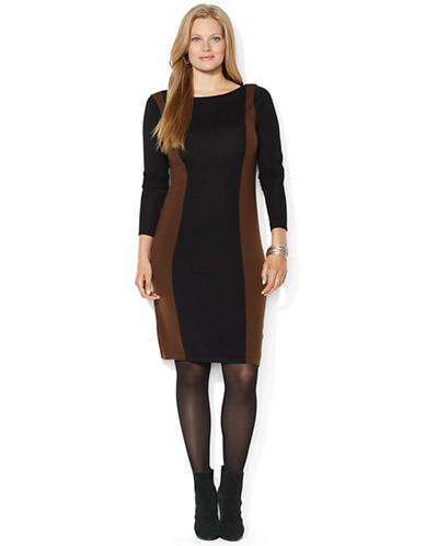 Lauren Ralph Lauren Plus Color-Blocked Wool Dress
