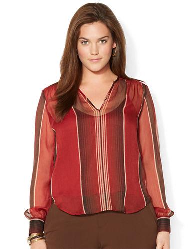 LAUREN RALPH LAURENPlus Striped Georgette Shirt