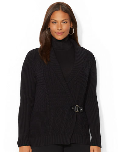 Lauren Ralph Lauren Plus Shawl Collar Wrap Sweater