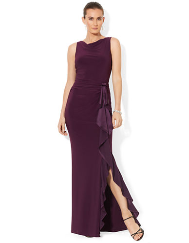 LAUREN RALPH LAUREN Sleeveless Ruffled Gown