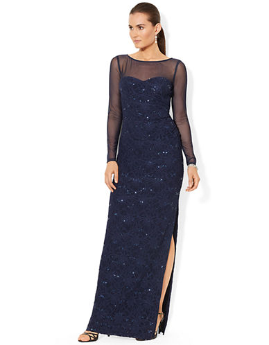 UPC 888602476009 - Lauren Ralph Lauren Sequined Lace Bateau Gown ...