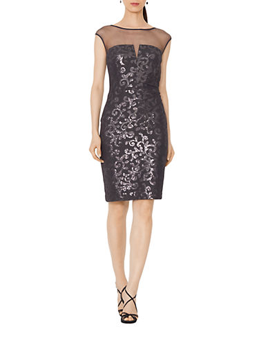 LAUREN RALPH LAUREN Sequined Lace Boatneck Dress