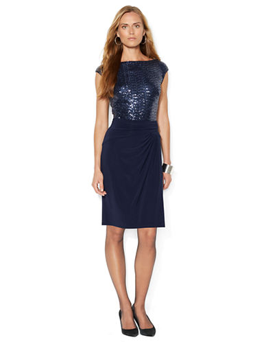 LAUREN RALPH LAUREN Sequin Bodice Dress with Wrap Skirt