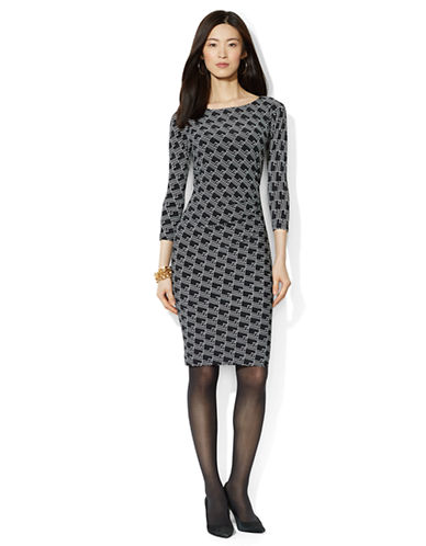 Shop Lauren Ralph Lauren online and buy Lauren Ralph Lauren Chain Print Bateau Dress dress online