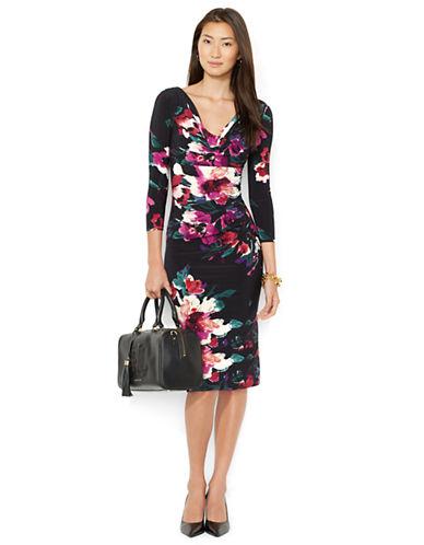 Shop Lauren Ralph Lauren online and buy Lauren Ralph Lauren Petite Printed Cowlneck Dress dress online