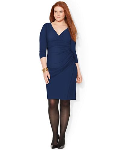 Shop Lauren Ralph Lauren online and buy Lauren Ralph Lauren Plus Jersey Faux Wrap Dress dress online