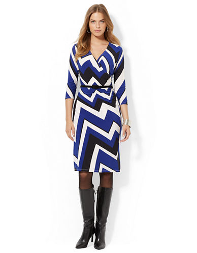LAUREN RALPH LAUREN Plus Printed Faux Wrap Dress