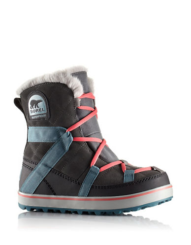 Sorel Glacy Explorer Waterproof Suede and Canvas Faux Fur-Lined Ankle Boots