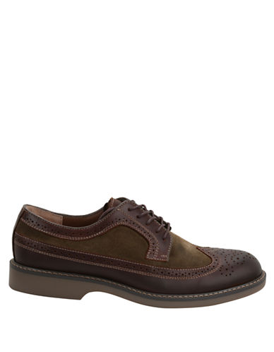 BASS Pearson Suede and Leather Wingtip Oxfords