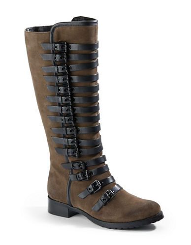 LUXURY REBEL Leigh Suede Banded Tall Boots