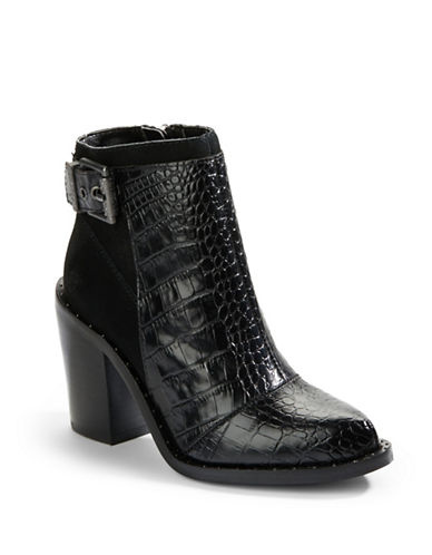 LUXURY REBELMaggie Embossed Leather and Suede Ankle Boots