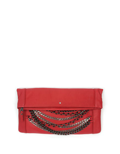 Ash Domino Fold-Over Leather Clutch