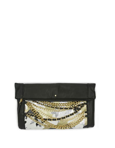 Ash Domino Camo Fold-Over Leather Clutch