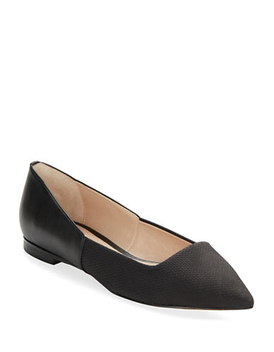 FRENCH CONNECTION Geneveve Suede and Leather Point Toe Flats