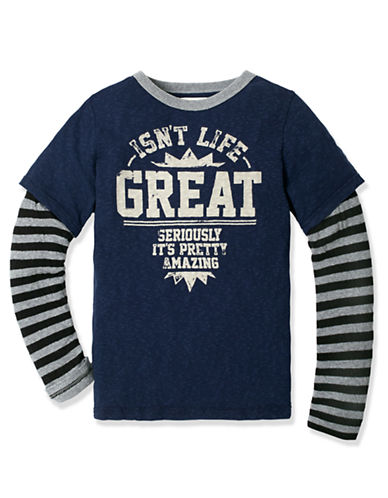 RUUM Boys 8-20 Graphic Tee with Striped Long Sleeves