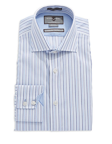 BLACK BROWN 1826 Cotton Slim Fit Striped Dress Shirt