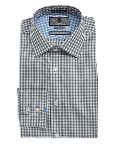 BLACK BROWN 1826 Slim-Fit Checkered Dress Shirt