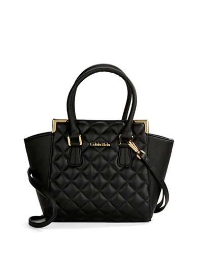 CALVIN KLEIN Quilted Leather Satchel Bag