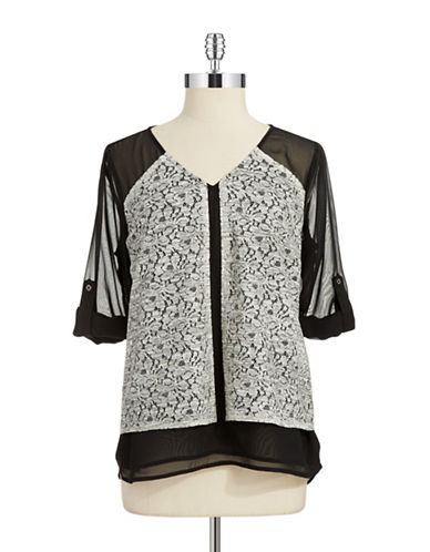 CALVIN KLEIN WOMENS Plus Lace Panel Overlay Top