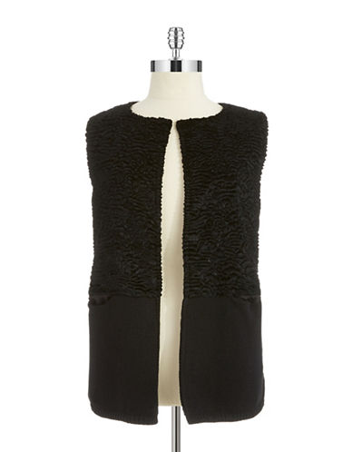 Calvin Klein Womens Plus Faux Ashtraken Fur Vest
