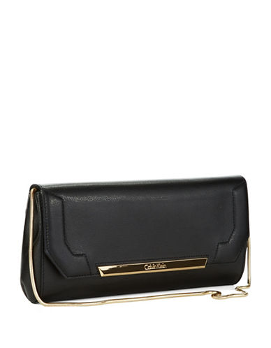 CALVIN KLEINColorblocked Leather Clutch