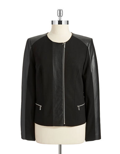 CALVIN KLEIN Faux Leather Accented Jacket