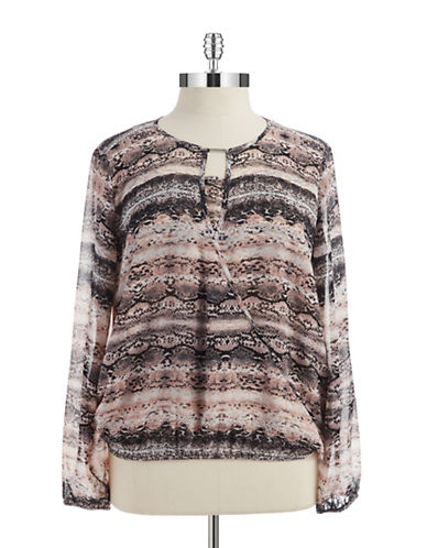 CALVIN KLEIN WOMENS Plus Draped Print Blouse