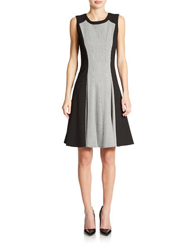 CALVIN KLEIN Houndstooth Fit and Flare Dress