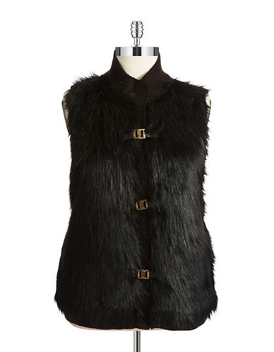Calvin Klein Womens Plus Faux Fur And Knit Vest