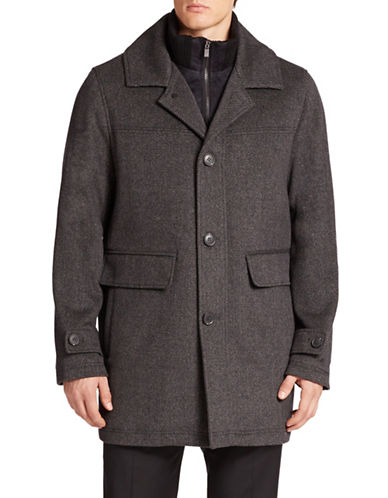 CALVIN KLEIN Layered-Look Stretch-Wool Coat