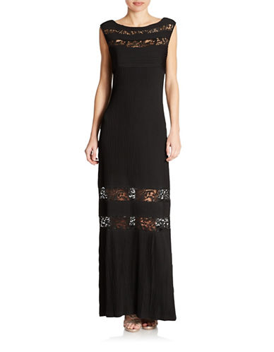CALVIN KLEINLace Insert Ribbed Gown