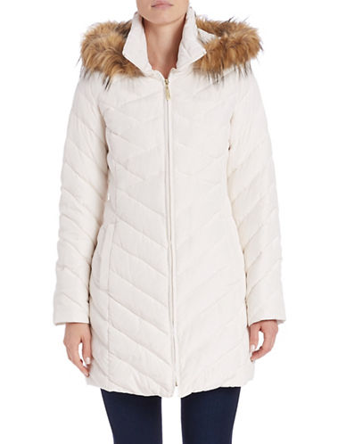 ellen tracy female 45883 faux furtrimmed quilted coat