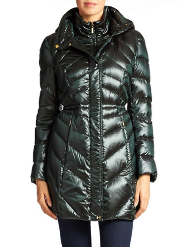 ELLEN TRACY Belt Accented Packable Coat