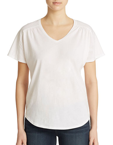 lord taylor female 45883 petite shirred v neck tee