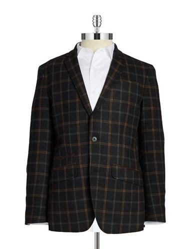 Black Brown 1826 Plaid Two-Button Blazer