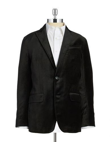 Black Brown 1826 Velvet Two-Button Blazer