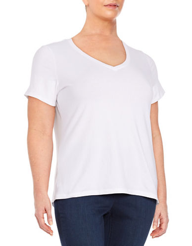 lord taylor female 45883 plus cotton blend vneck tee