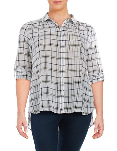 Plus Plaid Cotton Blouse plus size,  plus size fashion plus size appare
