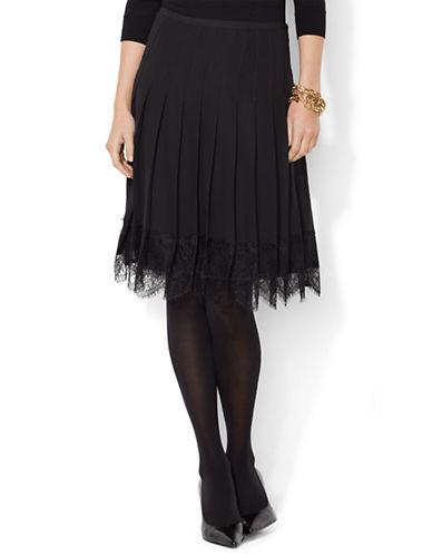 LAUREN RALPH LAURENPleated Lace Trim Skirt
