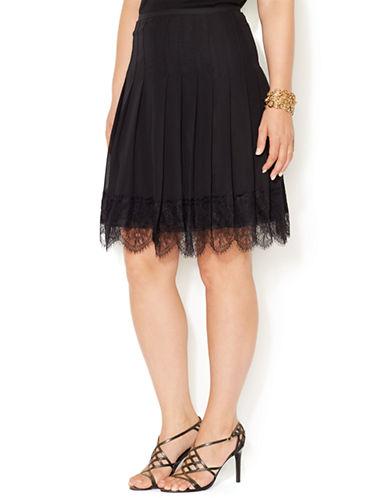 LAUREN RALPH LAURENPlus Pleated Lace Trim Skirt